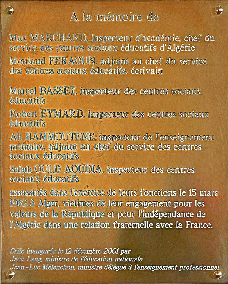 Plaque commémorative 101 rue de Grenelle