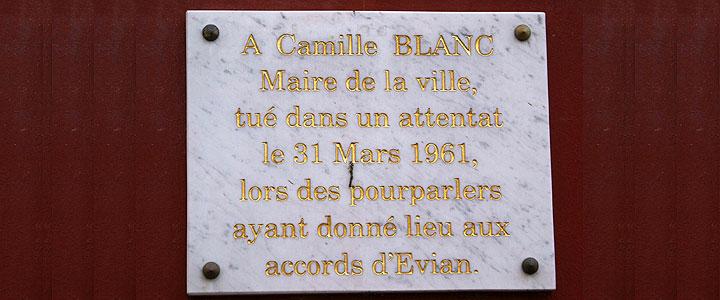 Plaque commémortive de Camille Blanc à Évian, © Michel Tréboz