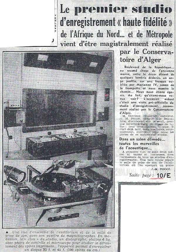 Le studio du conservatoire d'Alger
